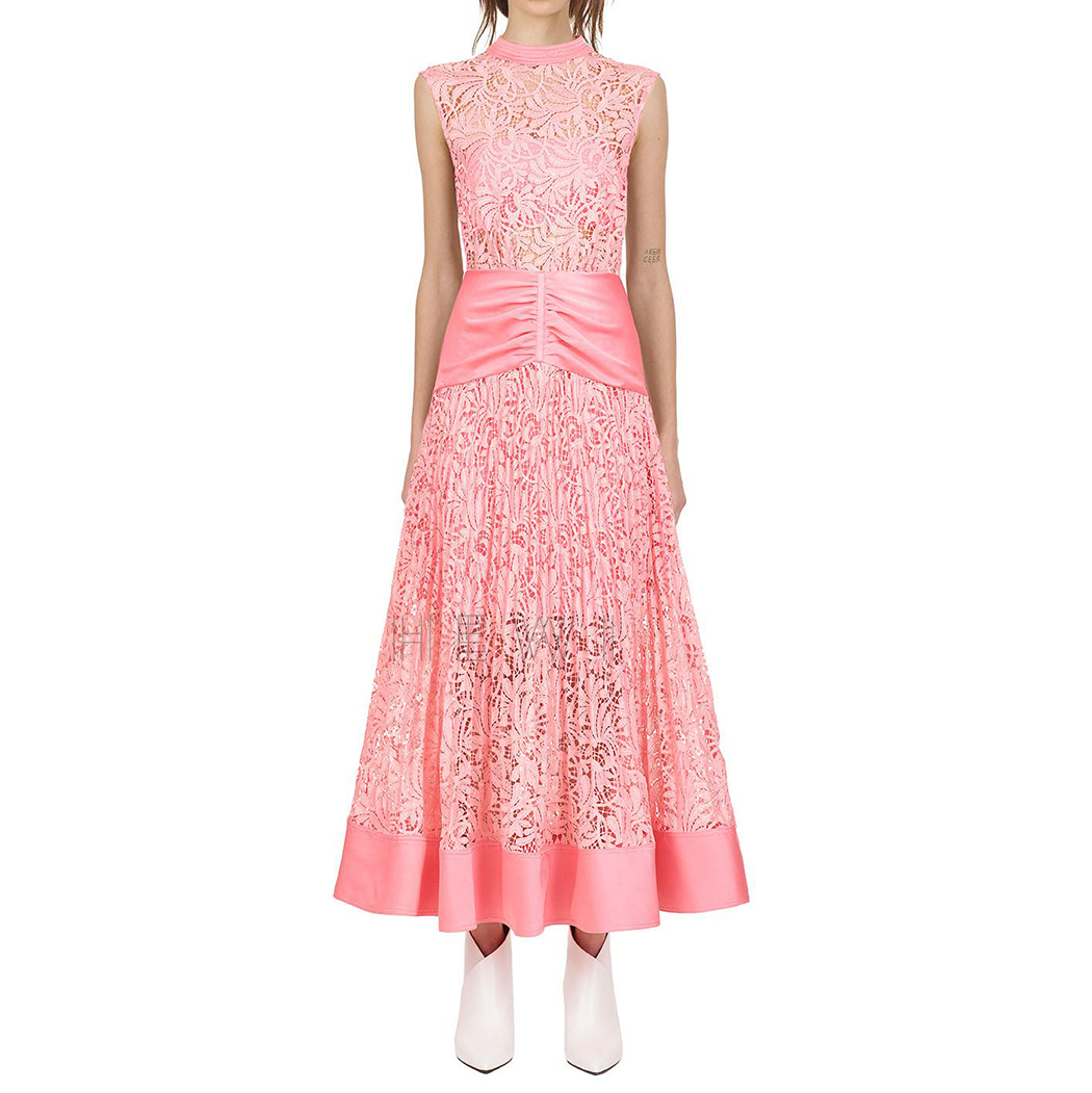 Self Portrait Floral Lace Sleeveless Midi Dress