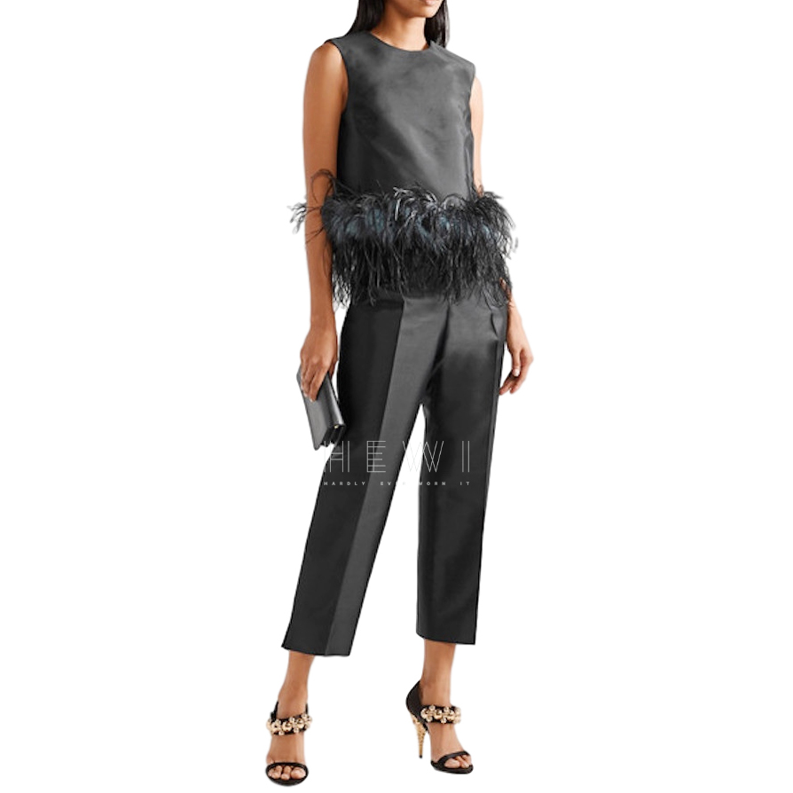 Prada Wool & Silk Feather Trim Top