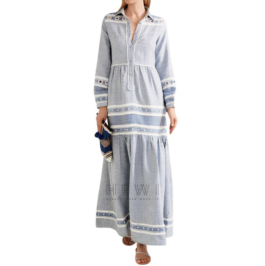 Dodo Bar Or White & Blue Mona Maxi Dress