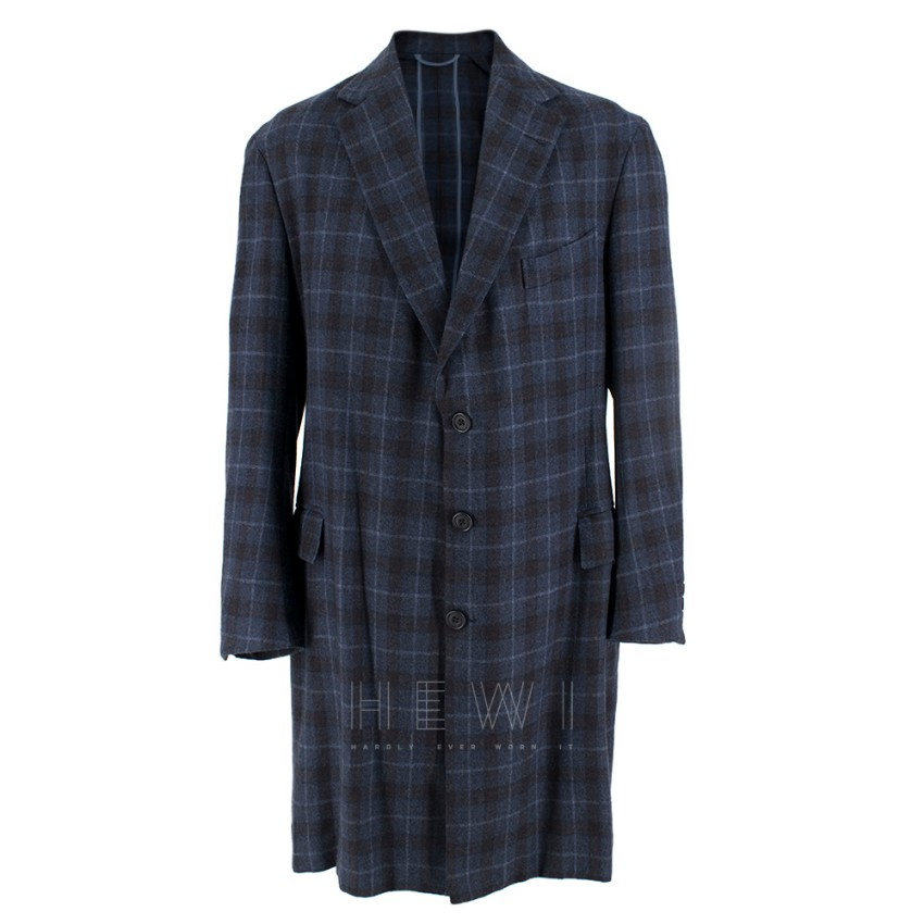 Hardy Amies Navy Blue Check Wool Men's Longline Coat