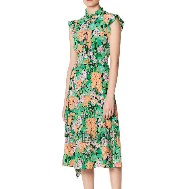 Sandro Green Maline Silk Midi Dress