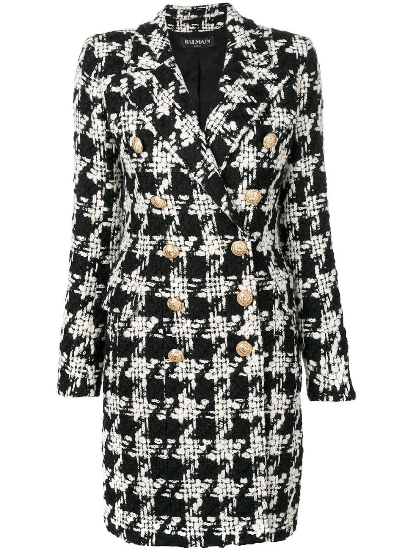 Balmain double-breasted houndstooth wool coat - new season