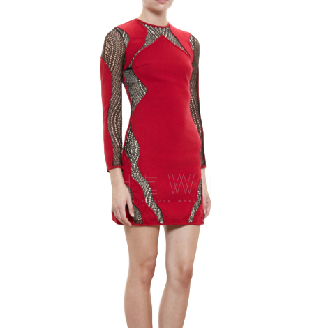 Huishan Zhang Lace-Panel Red Dress