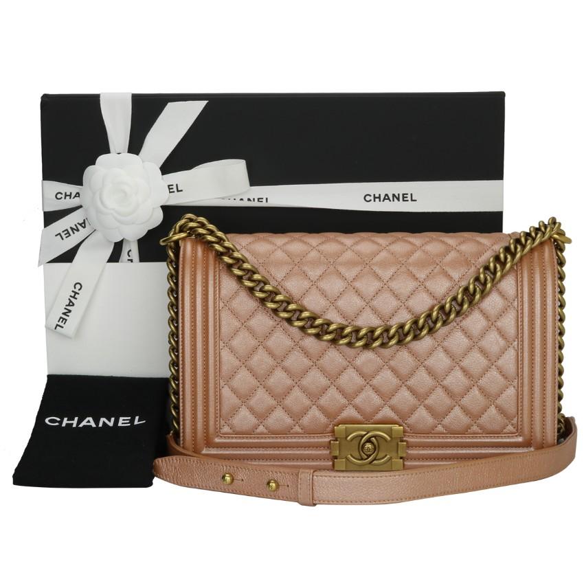 Chanel Iridescent Calfskin Leather Rose Gold Le Boy Bag