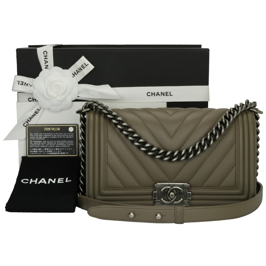 CHANEL Taupe  Calfskin Medium Chevron Boy Bag
