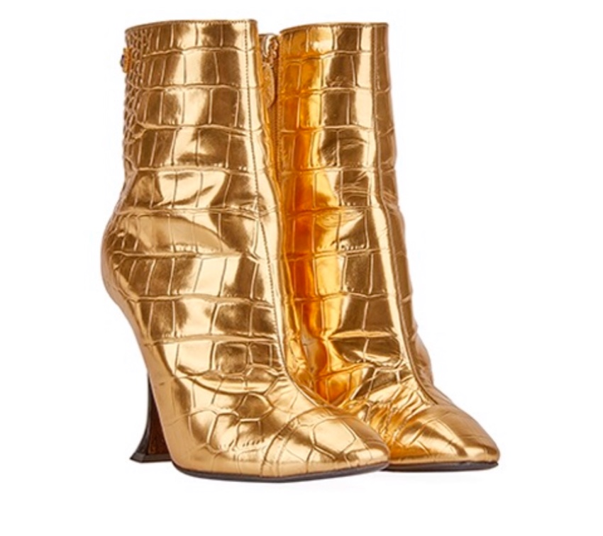 Chanel gold croc print leather ankle boots - current