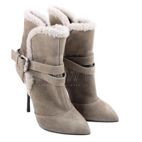 Giuseppe Zanotti Suede Shearling Trim Ankle Boots