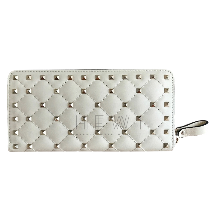 Valentino Rockstud white leather continental wallet