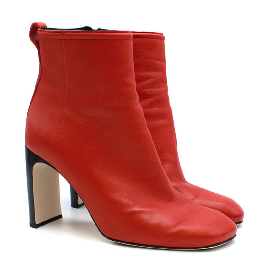 Rag & Bone Red Stretch Leather Ankle Boots