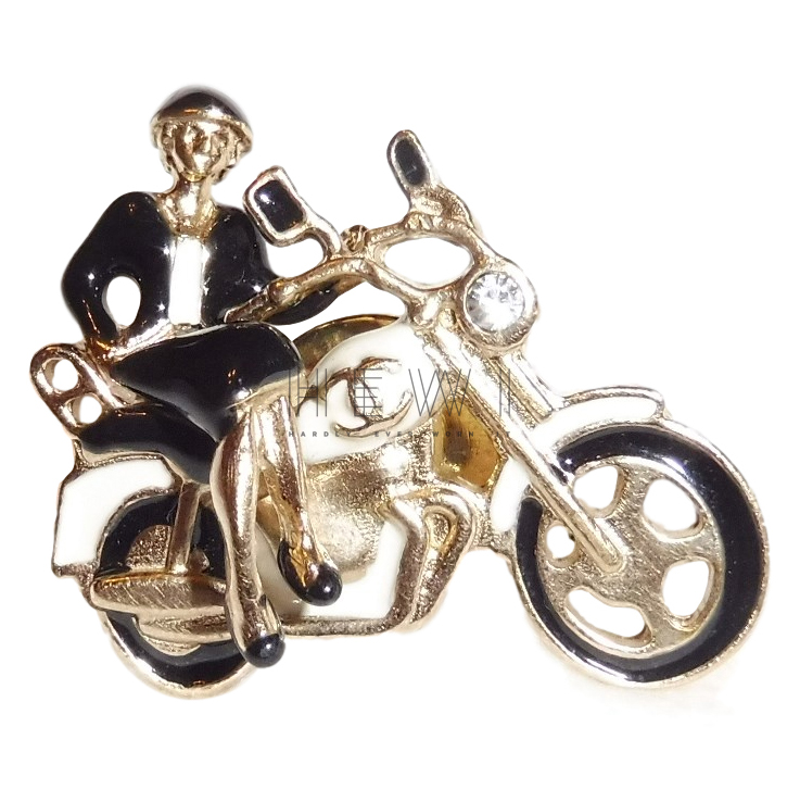 Chanel lacquered motorbike brooch