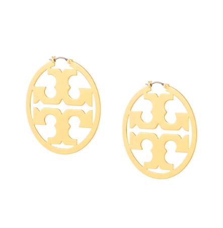 Tory Burch Circle-Logo Hoop Earrings