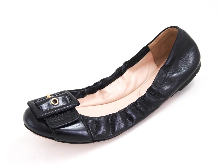 Prada Black Leather Ballet Flats | HEWI