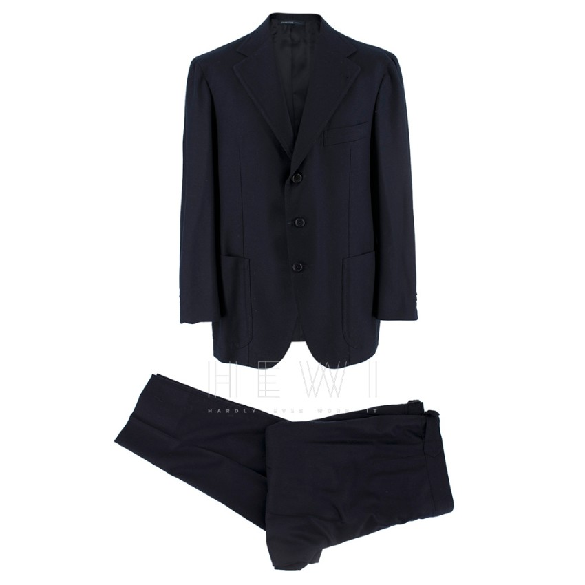 Gianni Volpe Bespoke Single Breasted Navy Wool Suit