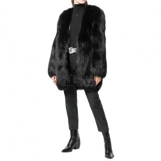 Saint Laurent black fox fur coat