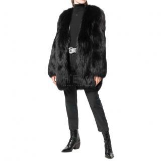 Saint Laurent black fox fur coat