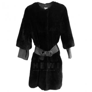 P.A.R.O.S.H Rabbit Fur Belted Coat