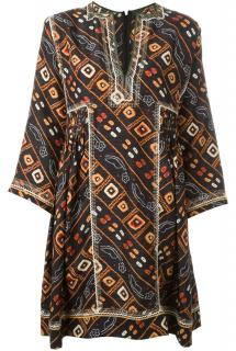 Isabel Marant patterned silk and embroidery tunic dress