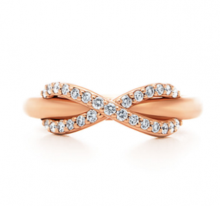 Tiffany & Co. Rose Gold Infinity Collection 0.13ct Diamond Ring