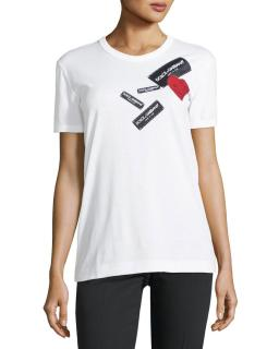 Dolce & Gabbana White Jersey T-shirt With Tag Heart Applique
