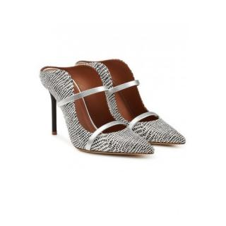 Malone Souliers Maureen Black & White Snakeskin Pumps