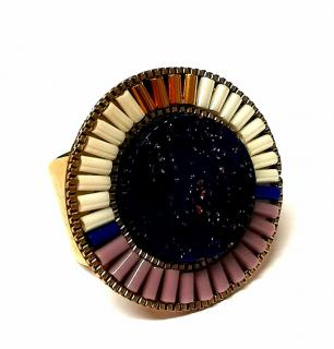 Satellite Paris Inca style glass ring