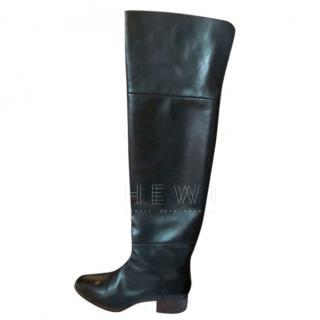 Chloe Black Leather OTK Boots