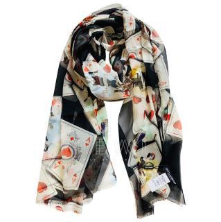Dolce & Gabbana Card Print Silk Wrap Scarf