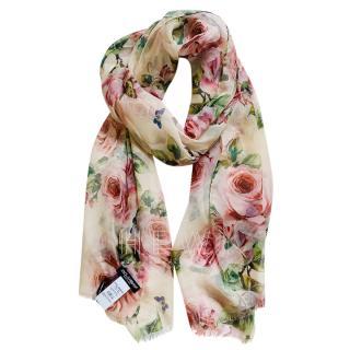 Dolce & Gabbana Cream Silk Rose Print Wrap Scarf