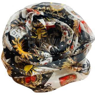 Dolce & Gabbana Silk Sacred Hearts Print Wrap Scarf
