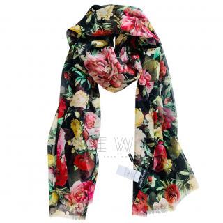 Dolce & Gabbana Black Rose Print Silk Wrap Scarf