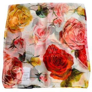 Dolce & Gabbana rose print silk foulard