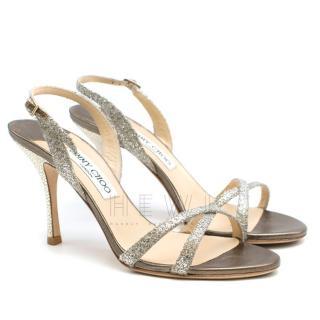 Jimmy Choo Emily 85 Glitter Champagne Sandals