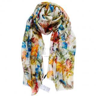 Dolce & Gabbana White Floral Print Silk Wrap Scarf
