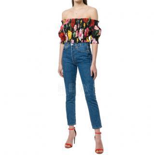 Dolce & Gabbana Rose Print Cropped Bardot Blouse