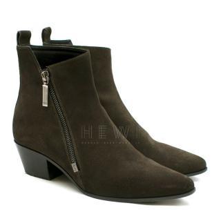 Saint Laurent Khaki Suede Ankle boots