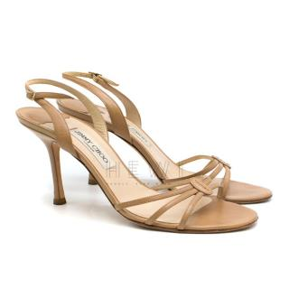 Jimmy Choo Camel Kid Leather Sandals