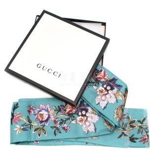 Gucci Teal Silk Floral Twill Scarf