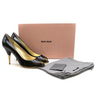 Miu Miu Metallic Heel Patent Leather Open Toe pumps