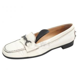 Tod's White Moccasin Loafers