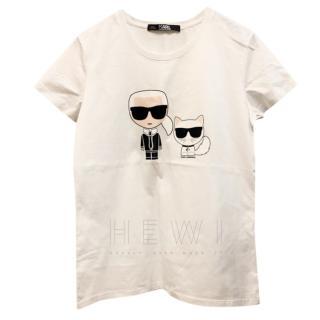 Karl Largerfeld White Karl Kitty T-Shirt