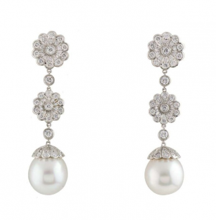 Tiffany & Co. Diamond Floral Drop Earrings