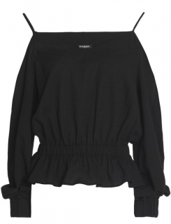 Balmain Cold-shoulder Gathered Cotton Top