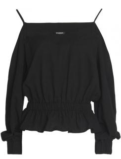 Balmain Cold-shoulder Gathered Cotton Top