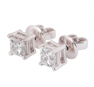 Bespoke Princess Cut White Gold Diamond Earrings