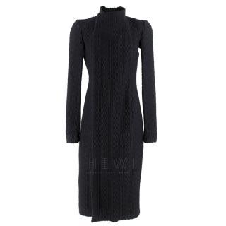 Rick Owens wool jacquard black coat