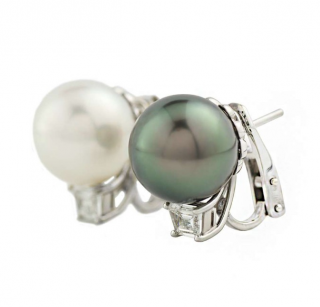 Cartier Tahitian & South Sea Pearl Diamond Earrings