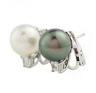 Cartier Tahitian & South Sea Pearl Diamond Earrings
