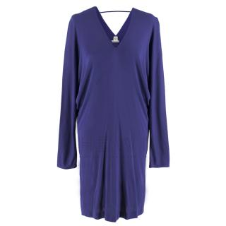 Hermes Blue Draped Dress