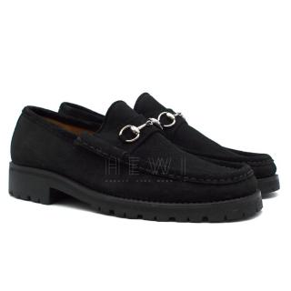 Gucci Black Suede Horsebit Loafers