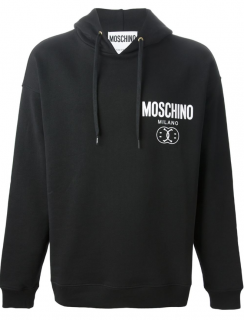 Moschino Couture Black Smiley Logo Print Hoodie